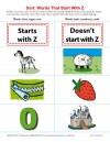 Consonant Sort: Words That Start With Z
