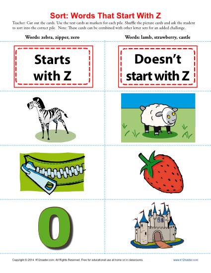 Sort the Words That Start With The Letter Z - Printable Worksheet Lesson Activity
