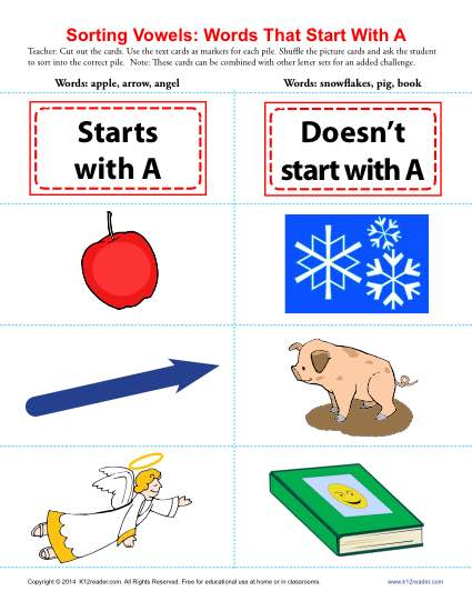 Words Starting With A : Beginning Vowel Worksheets
