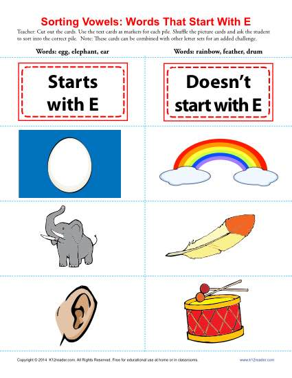 Letter E Beginning Vowel Worksheet