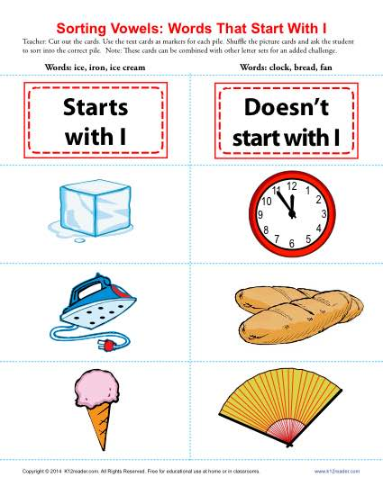 Words Starting With I : Beginning Vowel Worksheets