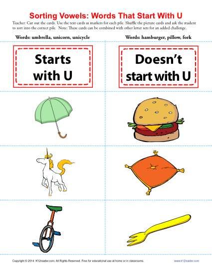 Words Starting With U | Beginning Vowel Worksheets