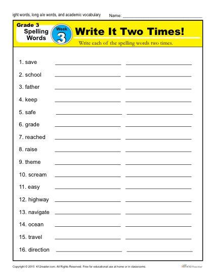 Third Grade Spelling Words | K5 Learning