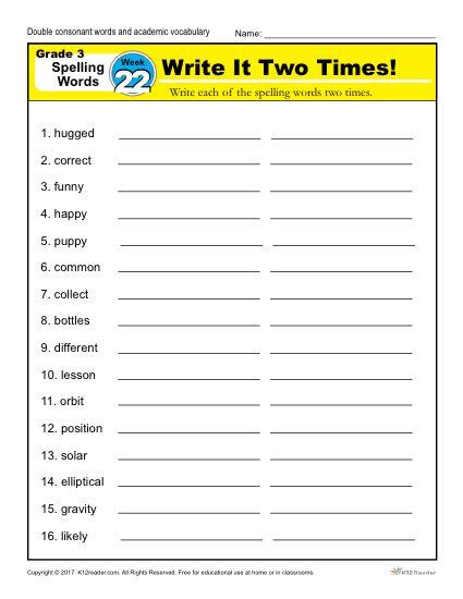 3rd Grade Spelling Words Week 22 – K12Reader Spelling Curriculum