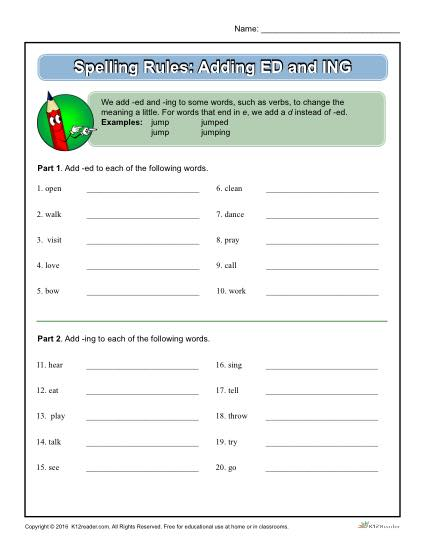 Printable Spelling Rules Worksheet - Adding ED and ING