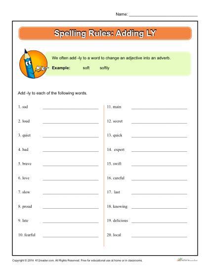 Printable Spelling Rules Worksheet - Adding LY