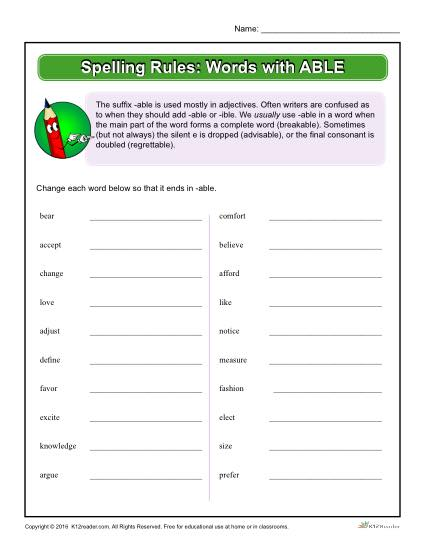 Spelling Rules: Words with ABLE