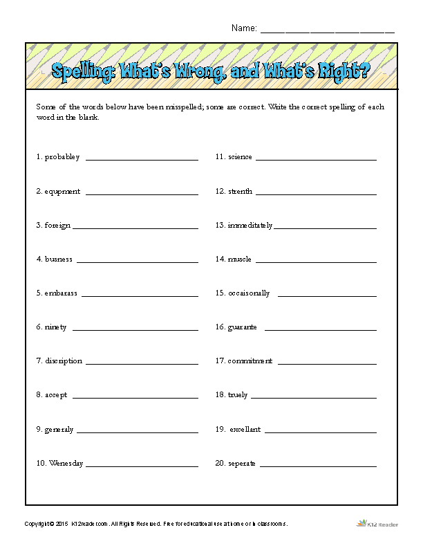 Printable Worksheets sixth grade spelling words worksheets : Spelling Worksheet: What's Wrong, and What's Right?