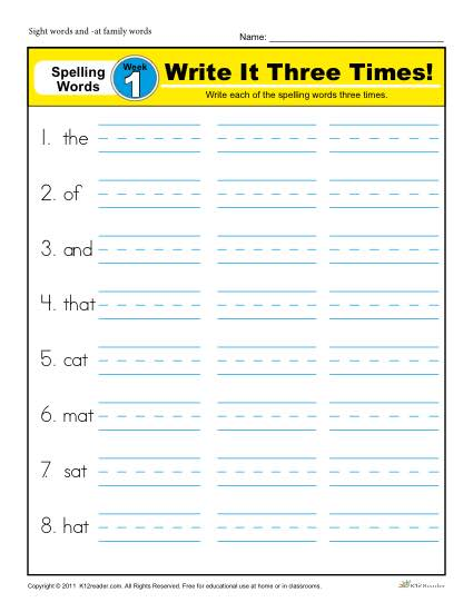 1st Grade Spelling Words Week 1 - K12Reader Spelling Curriculum