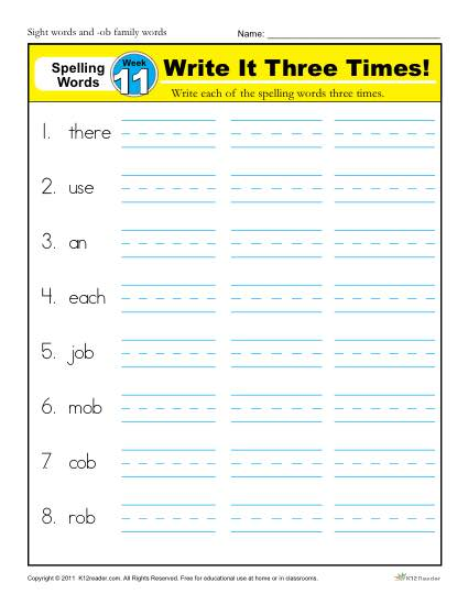 1st Grade Spelling Words Week 11 - K12Reader Spelling Curriculum