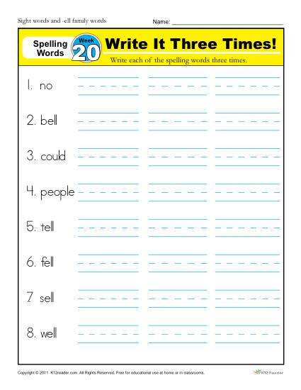 1st Grade Spelling Words Week 20 - K12Reader Spelling Curriculum