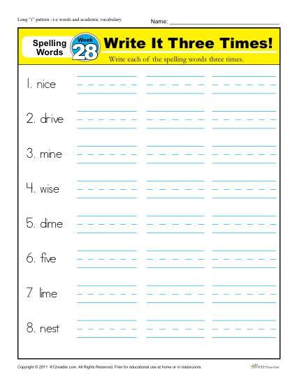 1st Grade Spelling Words Week 28 - K12Reader Spelling Curriculum