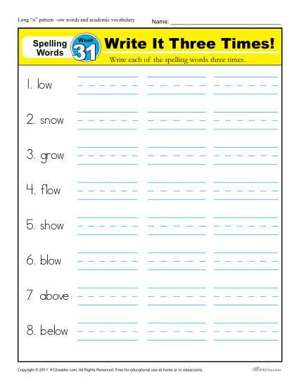 1st Grade Spelling Words Week 31 - K12Reader Spelling Curriculum