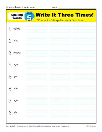 1st Grade Spelling Words Week 5 - K12Reader Spelling Curriculum