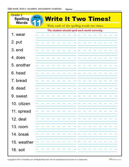 2nd Grade Spelling Words Week 11 – K12Reader Spelling Curriculum