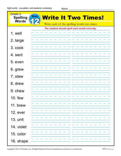 2nd Grade Spelling Words Week 12 – K12Reader Spelling Curriculum