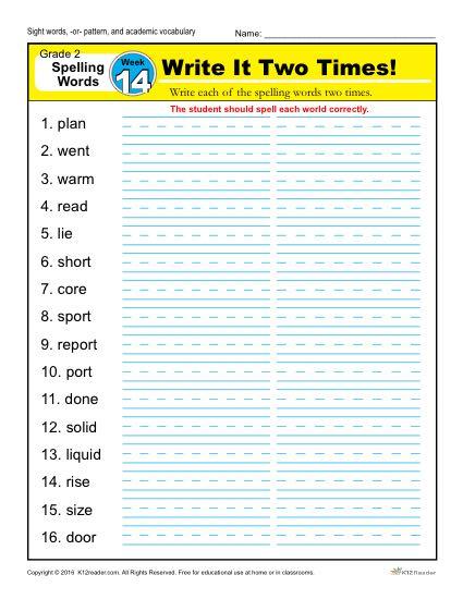 2nd Grade Spelling Words Week 14 – K12Reader Spelling Curriculum