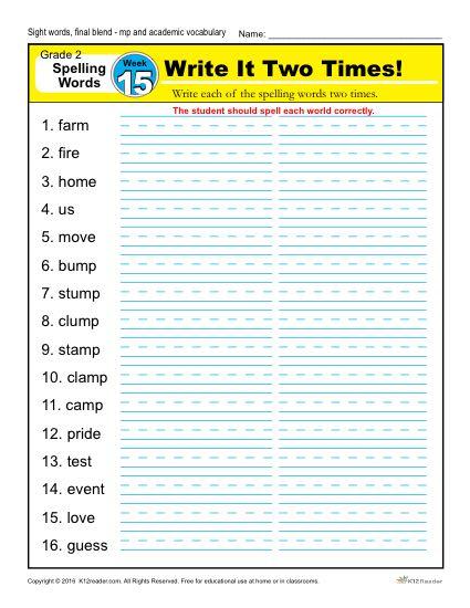 2nd Grade Spelling Words Week 15 – K12Reader Spelling Curriculum
