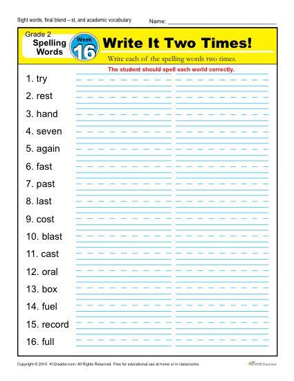 2nd Grade Spelling Words Week 16 – K12Reader Spelling Curriculum