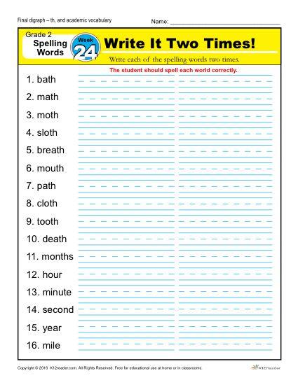 2nd Grade Spelling Words Week 24 – K12Reader Spelling Curriculum
