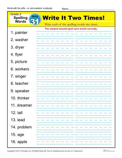 2nd Grade Spelling Words Week 31 – K12Reader Spelling Curriculum