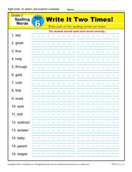 2nd Grade Spelling Words Week 6 – K12Reader Spelling Curriculum