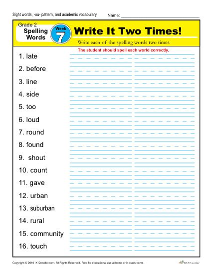 2nd Grade Spelling Words Week 7 – K12Reader Spelling Curriculum
