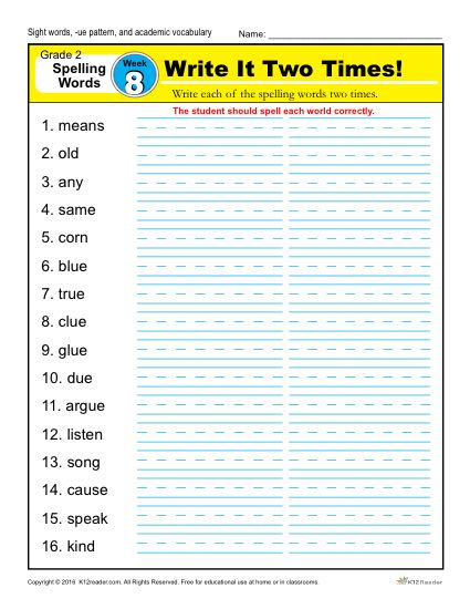 2nd Grade Spelling Words Week 8 – K12Reader Spelling Curriculum
