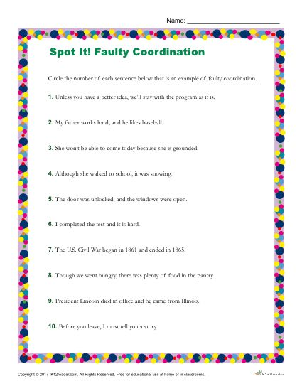Which Sentences Are Examples of Faulty Coordination?