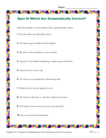 Which of the Following Sentences are Grammatically Correct? Printable Worksheet