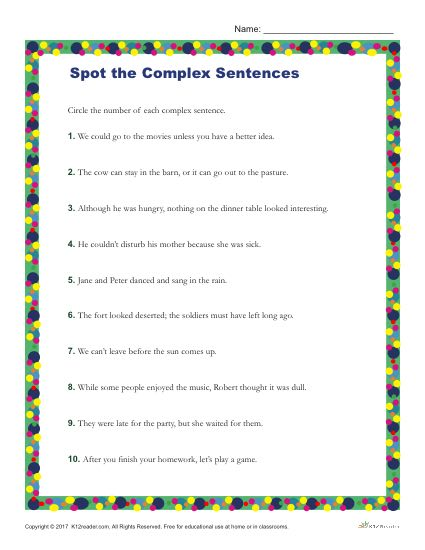 Which of the Following are Complex Sentences? Printable Worksheet