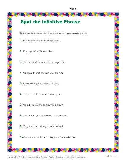Which Sentences have an Infinitive Phrase? Printable Worksheet