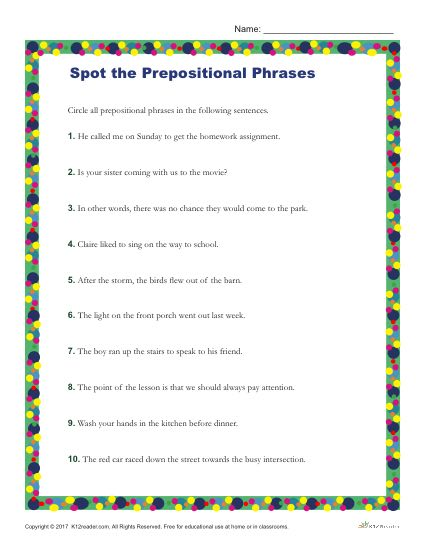 Identify the Prepositional Phrases in the Following Sentences - Printable Worksheet