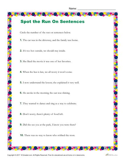 Identify Which Sentences Use Run On Sentences - Printable Worksheet