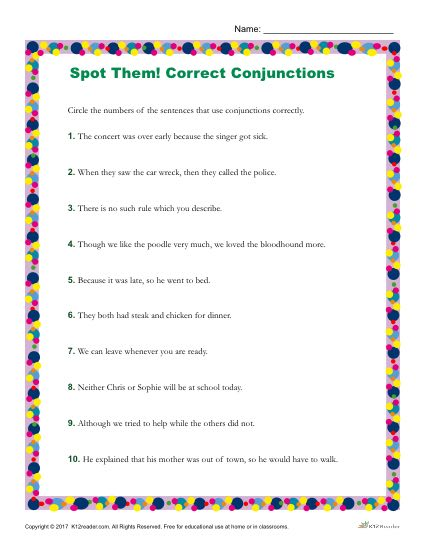 Which Sentence Use Conjunctions Correctly? Printable Worksheet