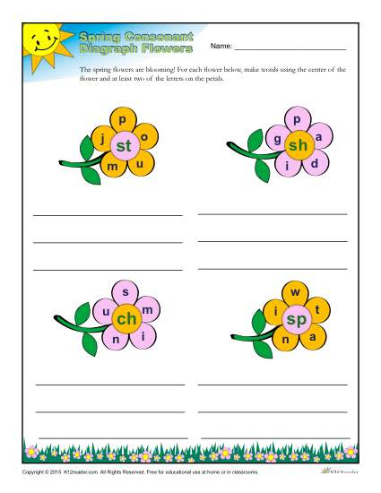 Spring Season Diagraph Consonant Worksheet