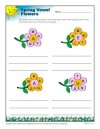 Spring Season Reading Worksheet - Vowel Flowers