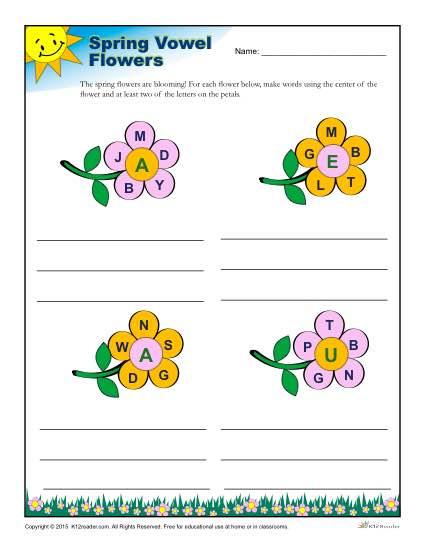 Spring Season Reading Worksheet - Vowel Flowers