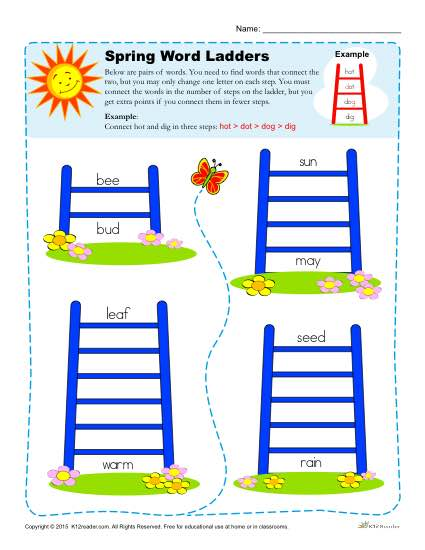 Printable Spring Season Word Ladders Activity
