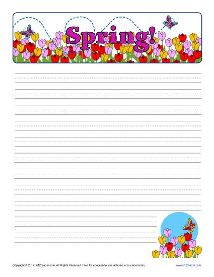 Spring Lined Writing Paper for Kids