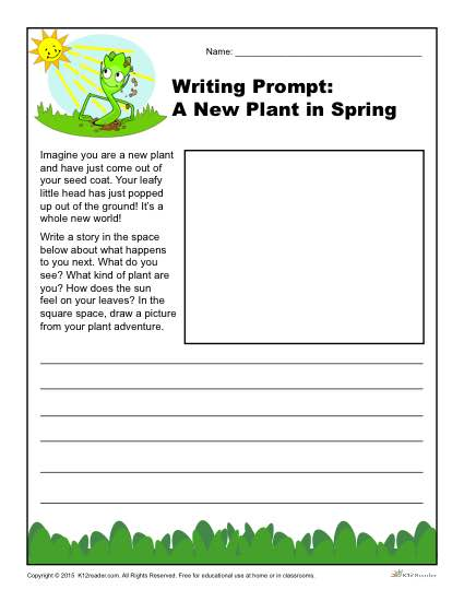 A new plant in spring writing prompt for 3rd 4th and 5th for Writing templates for 3rd grade