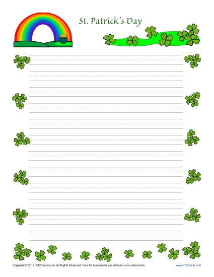 photograph about St Patrick's Day Worksheets Free Printable referred to as St. Patricks Working day Printable Protected Creating Paper