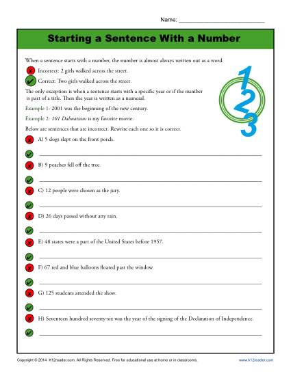 Starting a Sentence with a Number: Printable Worksheet for Students
