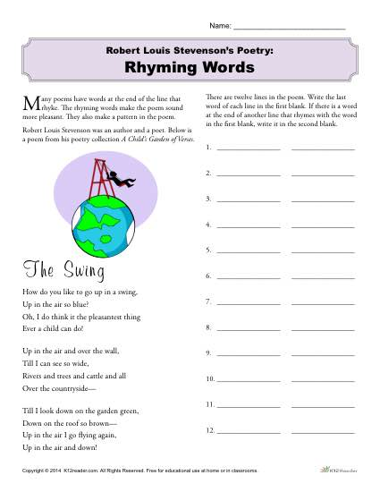 Robert Louis Stevenson Printable Activity - Rhyming Words