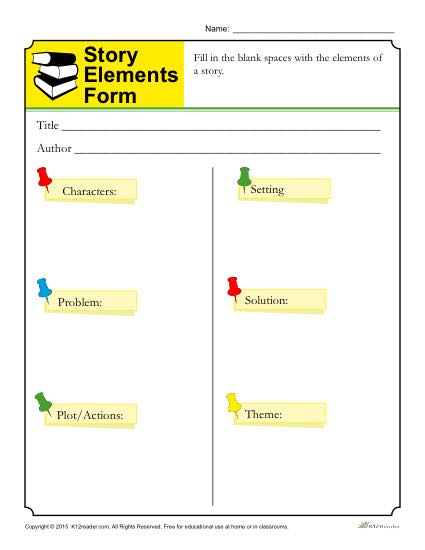 9 FREE ESL story elements worksheets