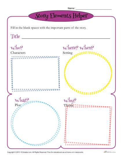 Story Elements Helper Form Template for Students