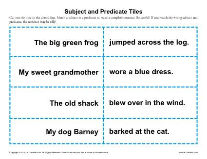 Subject and Predicate Tiles | 3rd Grade Worksheets