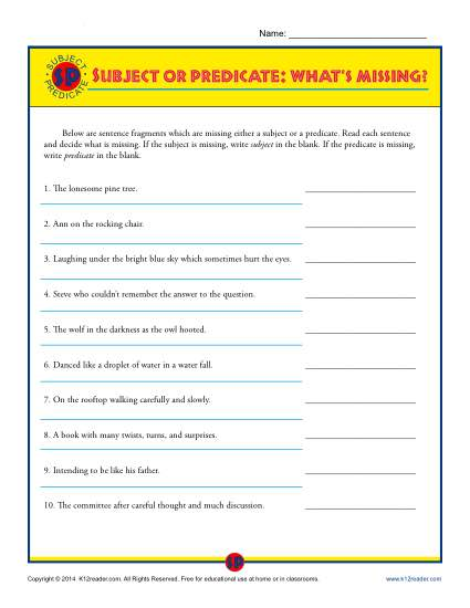 Subject and Predicate Worksheet - What's Missing?