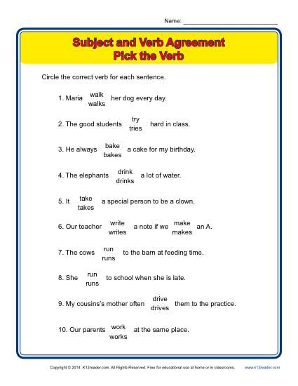 Pick the verb subject verb agreement worksheets subject verb agreement pick the verb platinumwayz