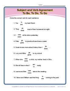Subject Verb Agreement Worksheet Activity - Be, Do, Go